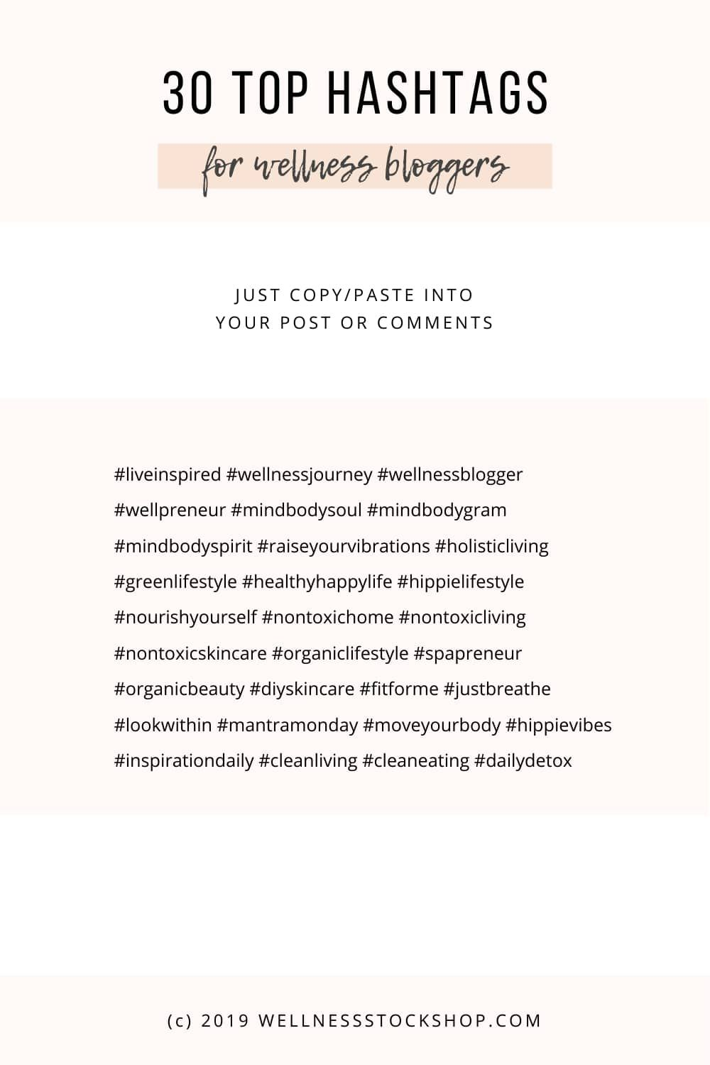 Top 30 Instagram Hashtags For Wellness Bloggers Wellness Stock Shop Instagram Hashtags For Likes Social Media Hashtags Hashtags For Likes