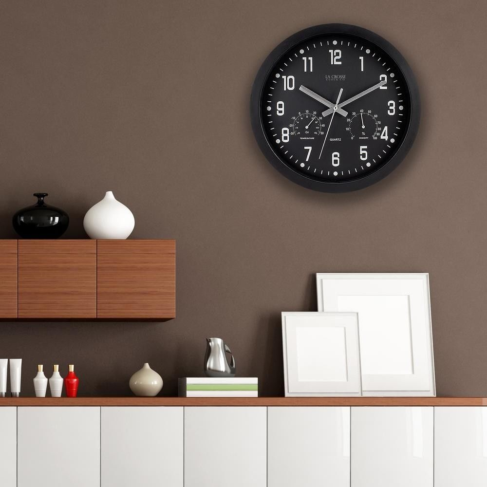Round Black Analog Wall Clock With Temperature And Humidity Home Decor 12 Inch Wallclock Quartz Bla Wall Clock With Temperature Home Decor Round Wall Clocks
