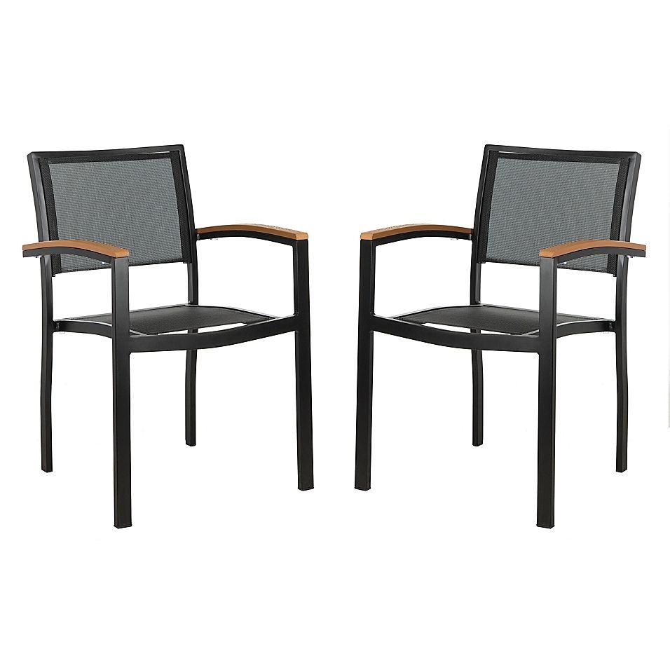 Safavieh Kaelan Stackable Patio Chairs In Black Brown Set Of 2