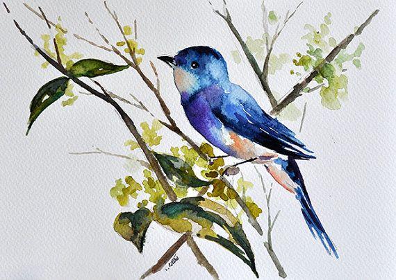 Acuarela Original De Blue Bird En Una Rama Verde Azul 7 X 10
