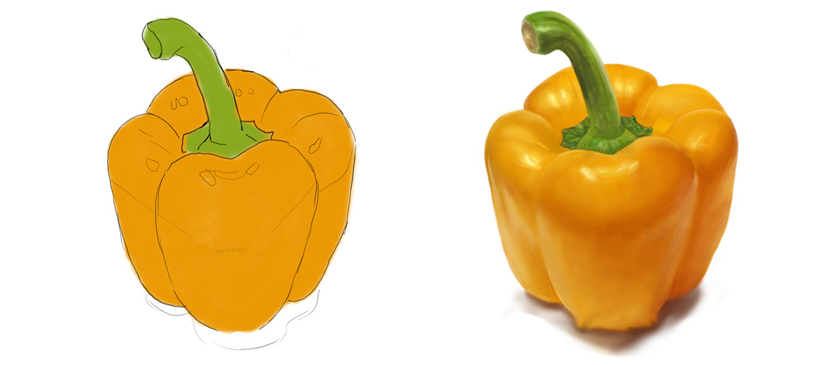 Drawing a Realistic Yellow Pepper