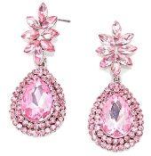 Light Pink Teardrop Long Prom Crystal Evening Elegant Earrings