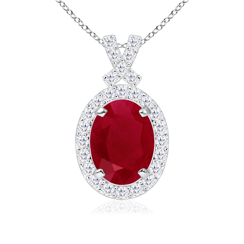 14K White Gold Diamond /& Oval Ruby July Stone Pendant