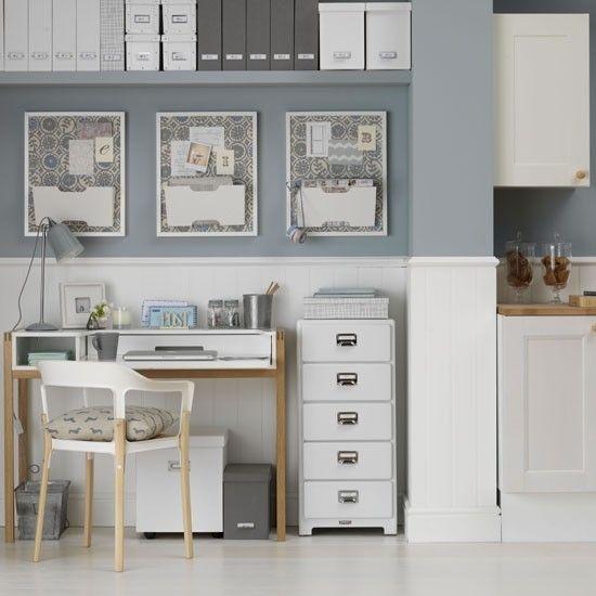 Wohnideen Home Office-weiß Grau Blau-modern Mix
