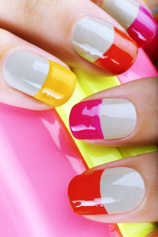 Inspirational photo by Bri Wolz. #neon and nude nails! #summernails @Bloom.com