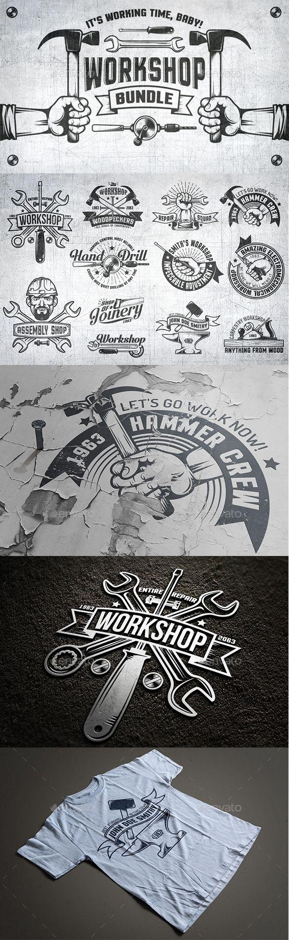 Workshop Logo Set Symboly Dobrodruzstvi A Kresby