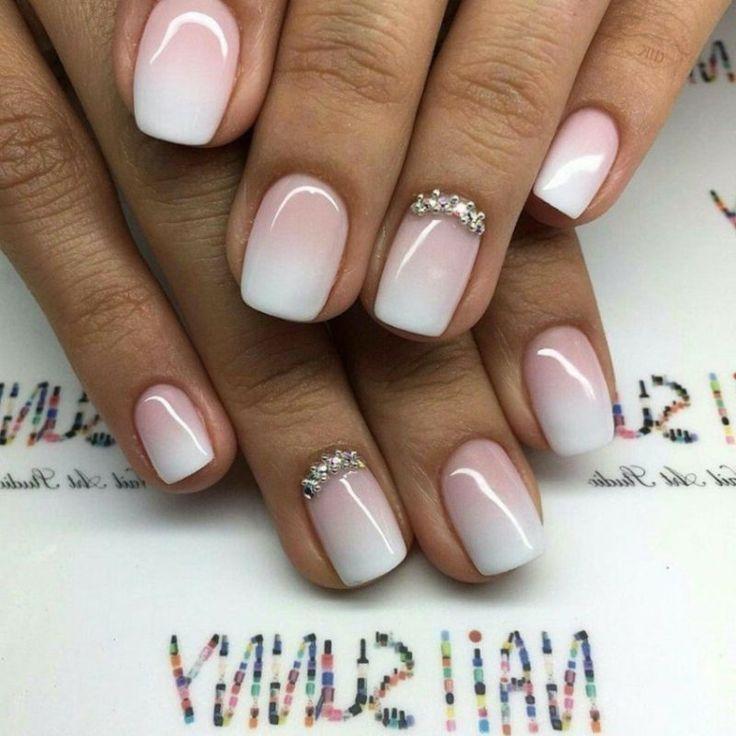 geln gel wei und rosa ombre effekt french nails women 39 s fashion pinterest french nails. Black Bedroom Furniture Sets. Home Design Ideas