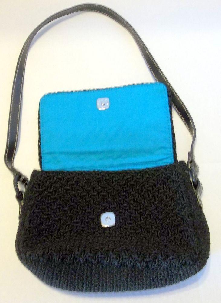 Liz Claiborne Black Shoulder Hand Bag Purse Crochet Design Fully Lined
