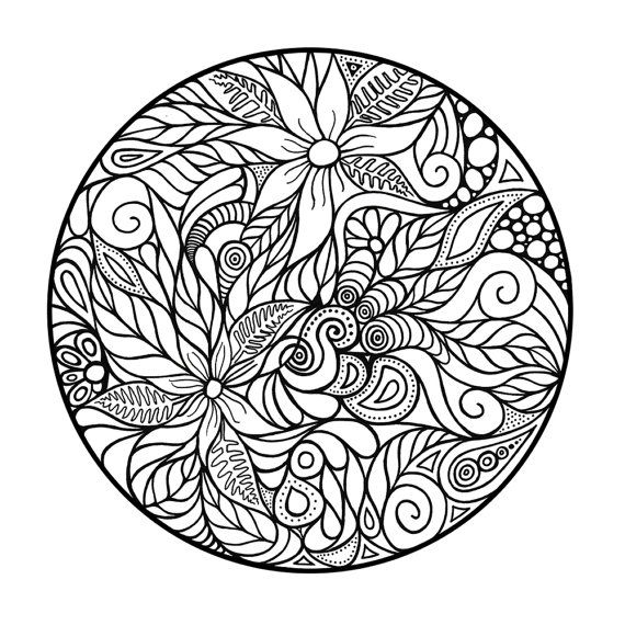 Adult Coloring Page Abstract Circle By 123adultcoloring On Etsy
