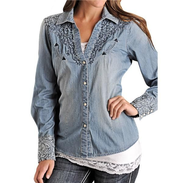 Panhandle Slim Perfectly Chambray Embroidered Western Shirt - Snap Front, Long Sleeve (For Women)