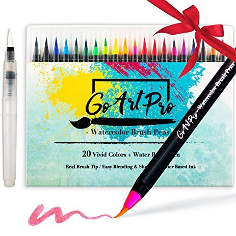 Watercolor Brush Pens By Goartpro Set Of 20 Color Soft Flexible