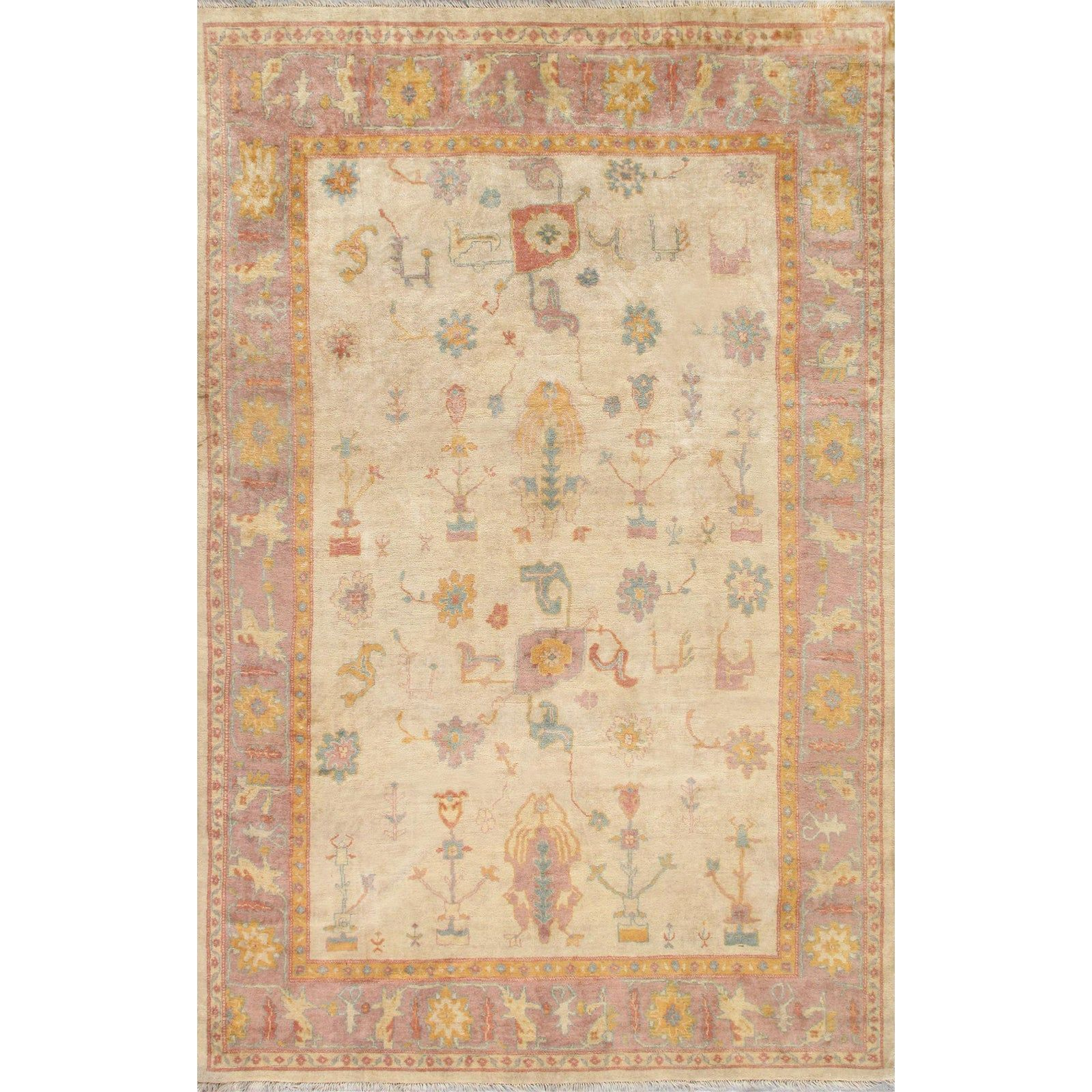 Tan And Pastel Pasargad Home Oushak Wool Area Rug 10 X 14 Wool Area Rugs Pasargad Colorful Rugs