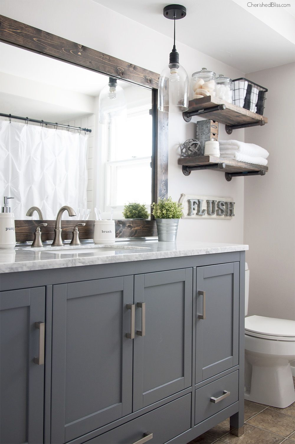 Industrial Farmhouse Bathroom Reveal Industrial Farmhouse Bathroom Bathroom Remodel Master Farmhouse Master Bathroom