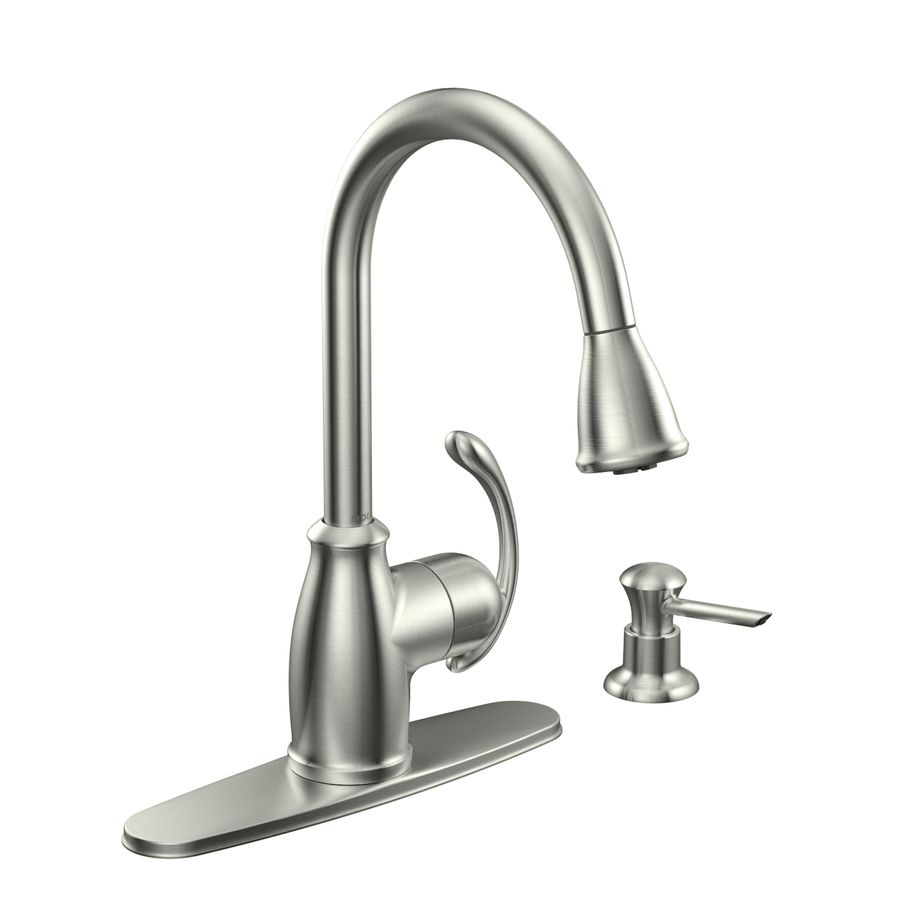 Shop Moen Terrace Spot Resist Stainless 1-Handle Pull-Down Kitchen ...
