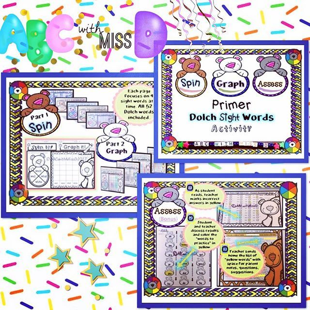 Spin and Graph Primer Dolch Sight Words- Activity Packet plus