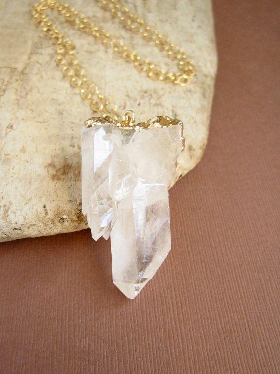 Druzy Necklace Crystal Quartz Points Cluster 14K by julianneblumlo, $118.00