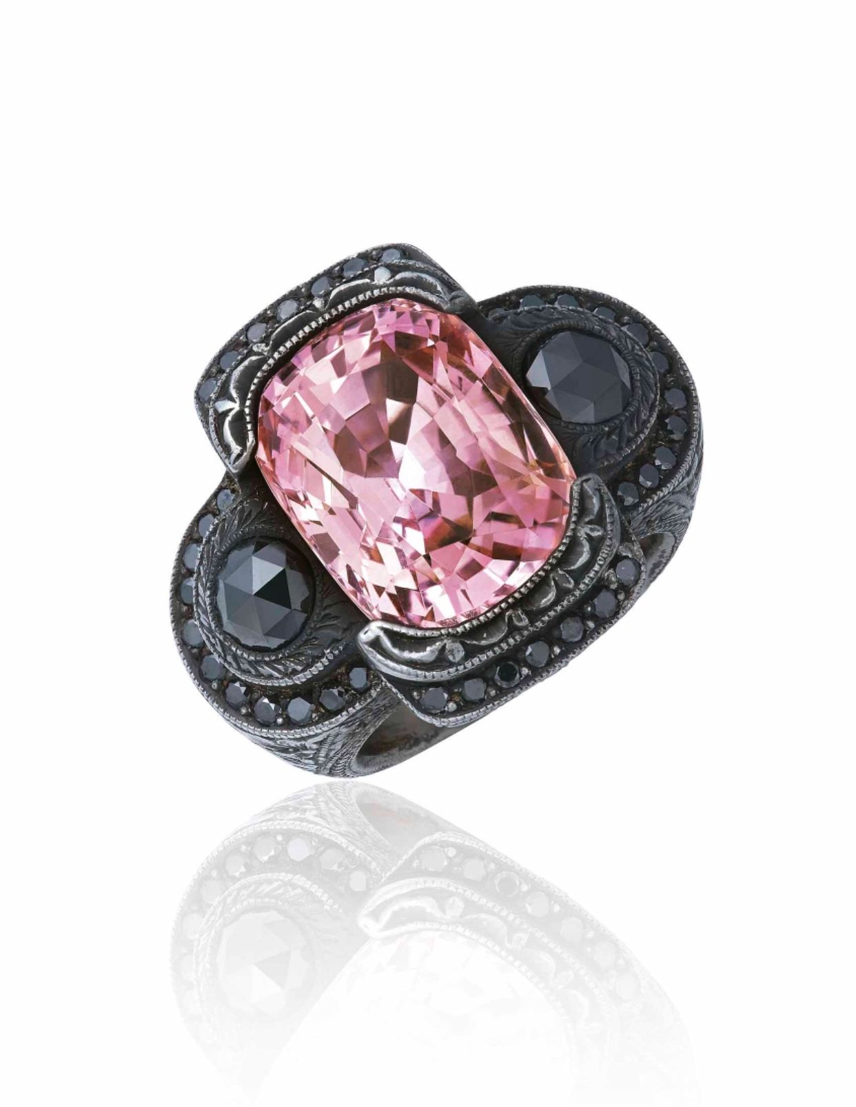 Padparadscha sapphire and coloured diamond ring cushionshaped