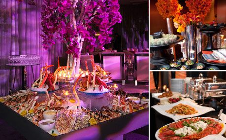 Wedding reception with food stations
