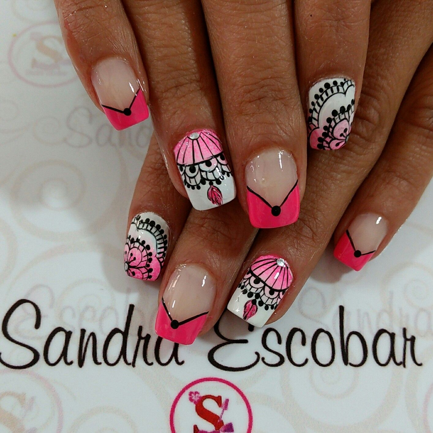 Uñas Decoradas Leopardo Pin De Sandra Escobar En Uñas Mandala French Tip Nails