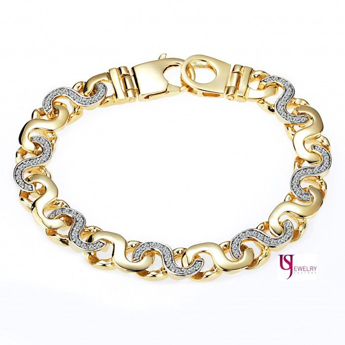 a20a6940e 2.40 TCW Men's Mariner Anchor Link Diamond Bracelet 14K Solid Yellow ...