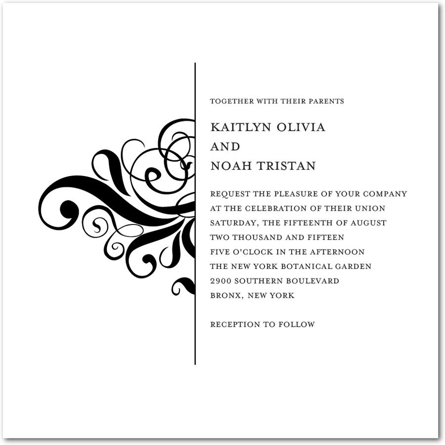 Split Swirl - Thermography Wedding Invitations in Black or TH ...