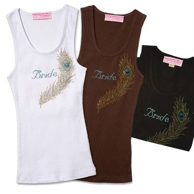 """I WANT THIS!!!  Get glam with this sparkling cotton tank, emblazoned """"Bride"""" in blue crystals set off with a glittering peacock feather. Tank comes in white, black, or brown--the perfect top for casual pre-wedding events and parties! From Exclusively Weddings"""
