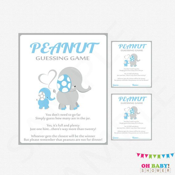 blue elephant baby shower  peanut guessing game  guess how many  baby blue shower games boy