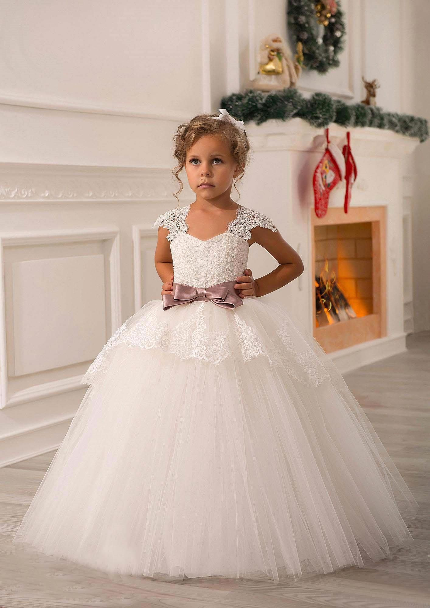 cheap new cute off shoulder lace sash ball gown net baby girl