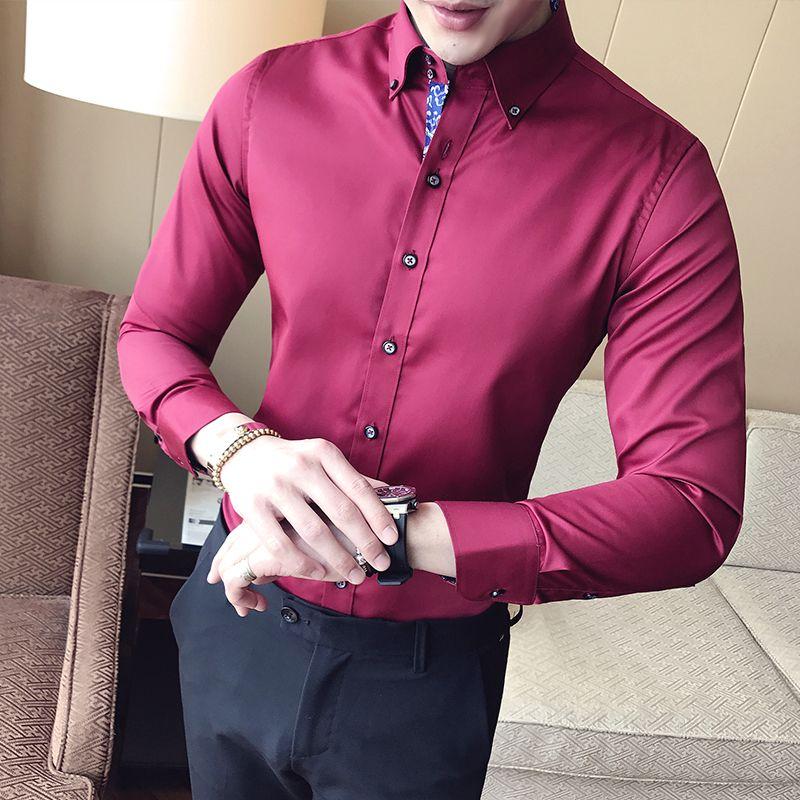 New Product Leisure Long Sleeve print Shirt plus size men slim ...