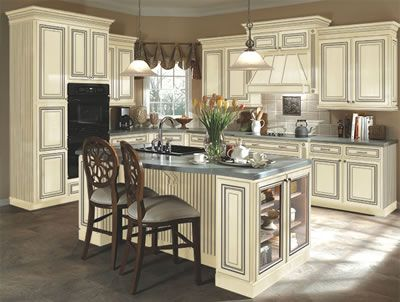 Kitchen Example Displaying The Armstrong Cabinet Style Sedona With The  Vanilla Cream Pewter Glaze Finish