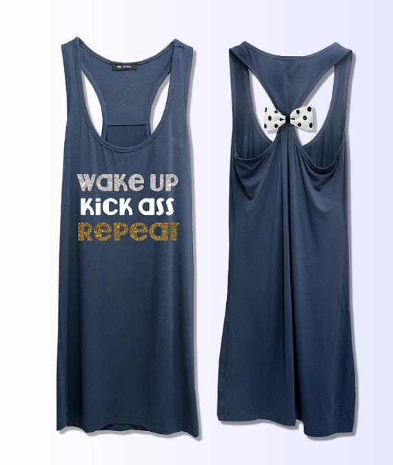 a51328c561d619 wake up kick ass repeat work out fitness bow tank top 3 colors grey yellow  pink PK 270
