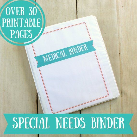 Special Needs Medical Binder Printables 32 Pages Instant