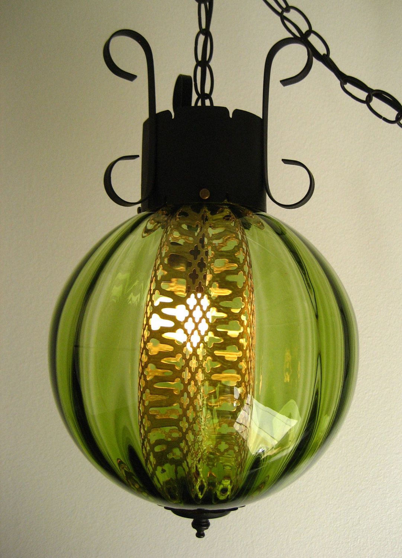 Vintage spanish gothic optic glass swag lamp retro hanging wrought