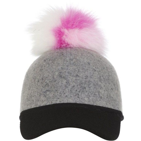 Charlotte Simone Women's Single Pom Pom Sass Cap - White/Baby Pink (250 BAM) ❤ liked on Polyvore featuring accessories, hats, white hat, caps hats, white brim hat, pom pom hat and white cap