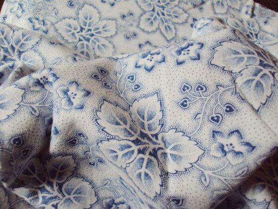Vintage French Cotton Fabric Faded Blue by mamaisonfrancaise