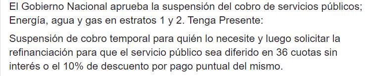 20 03 25 El Gobierno Nacional Aprueba La Suspension Del Cobro De Servicios Publicos Energia Agua Math Equations Math Garcia