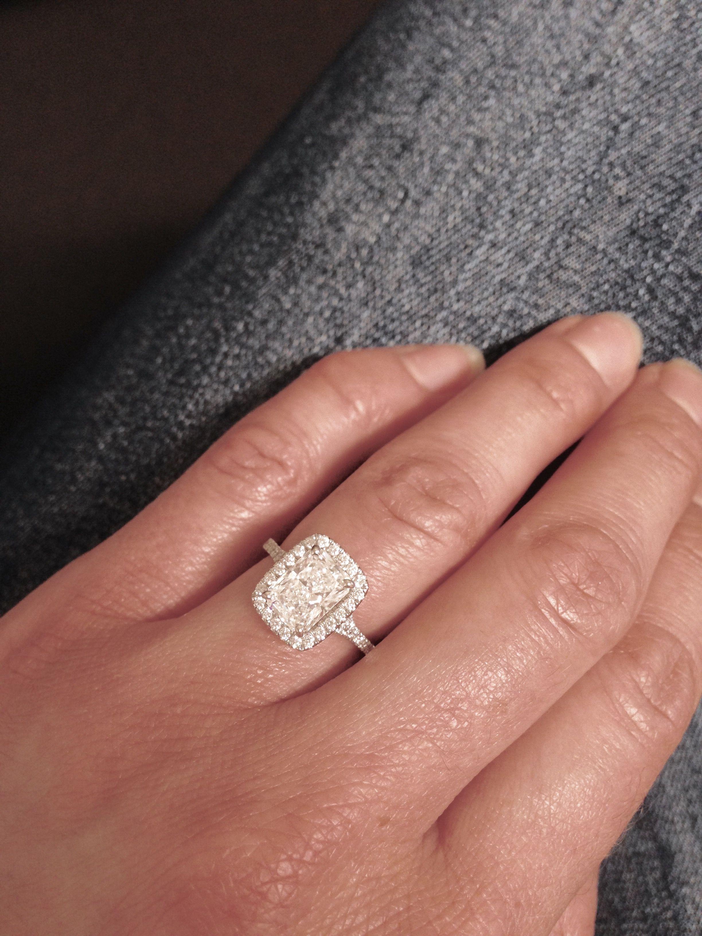 Elongated Radiant Cut Stone Halo Cushion Setting Engagement Ring  Perfection ❤