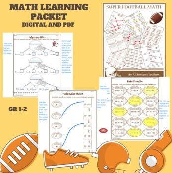 Super Football Math Worksheets No Prep Digital Activities Math Math Packets