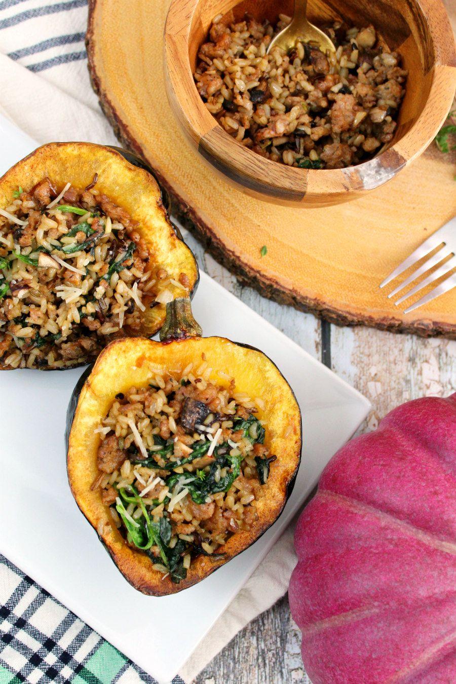 Sausage Wild Rice And Mushroom Stuffed Acorn Squash Recipe