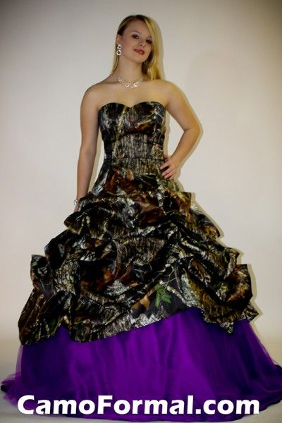 Purple Camo Pickup Ball Gown Camouflage Prom Wedding Homecoming Formals