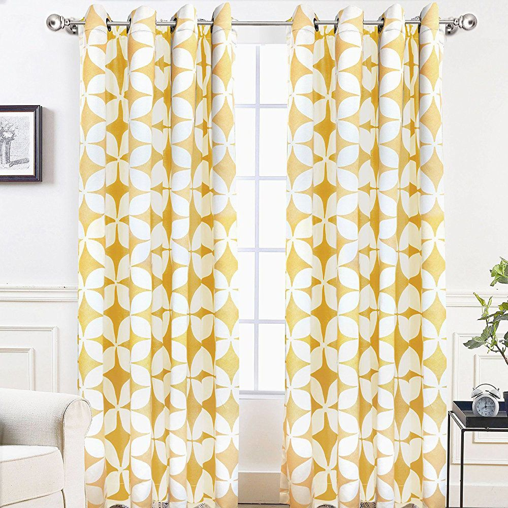 Bright Mustard Yellow And White Geometric Pattern Modern Curtains