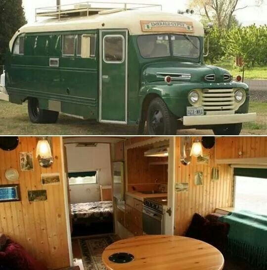 Salvaged Trailer Turned Tiny: The Emerald Gypsy, A 1949 Old School Bus Converted Into A