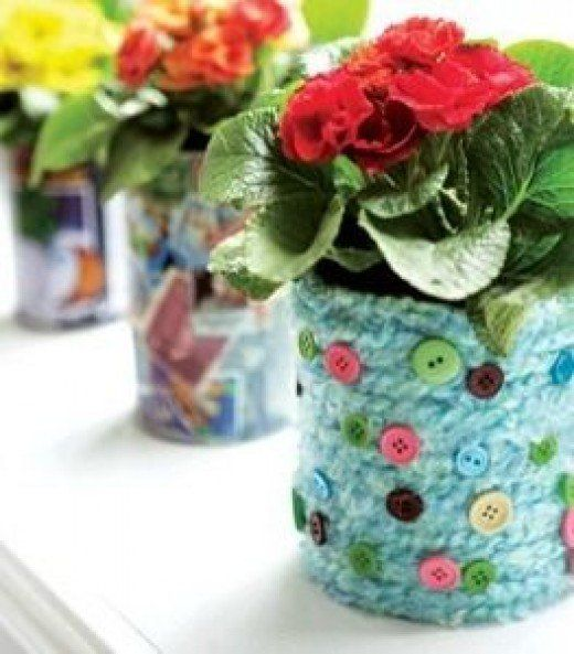 49 amazing craft ideas for seniors senior crafts craft and crochet flowerpots from tin cans valentines gift negle Images