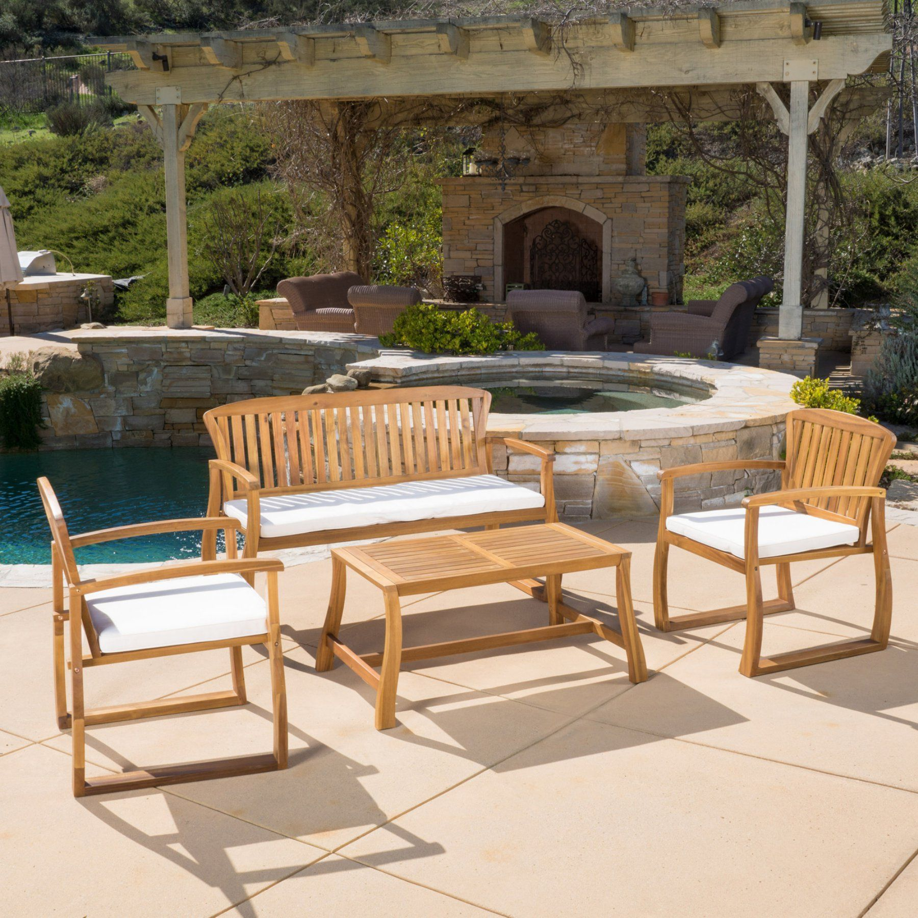 Outdoor best selling home decor furniture leah wood piece patio
