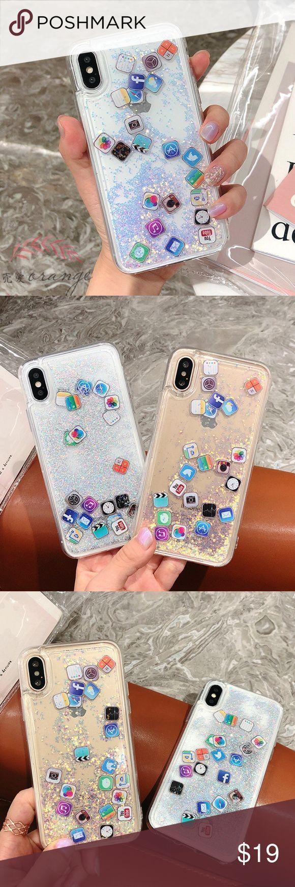 ️️NEW iPhone X/7/8/7+/8+ Glitter Liquid Icon Case ️️ BRAND
