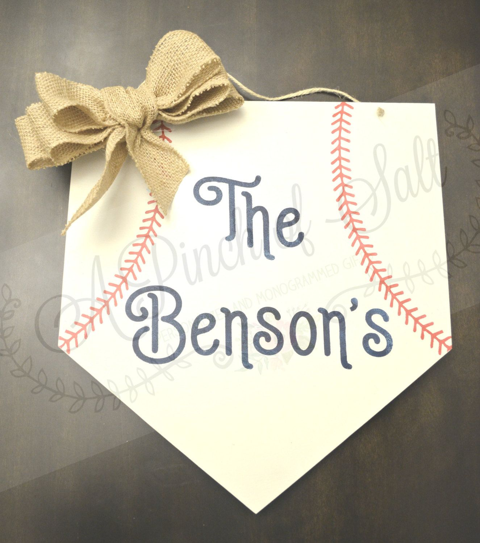 Baseball Home Plate Personalized Sign, Baseball W… | A Pinch of Salt ...