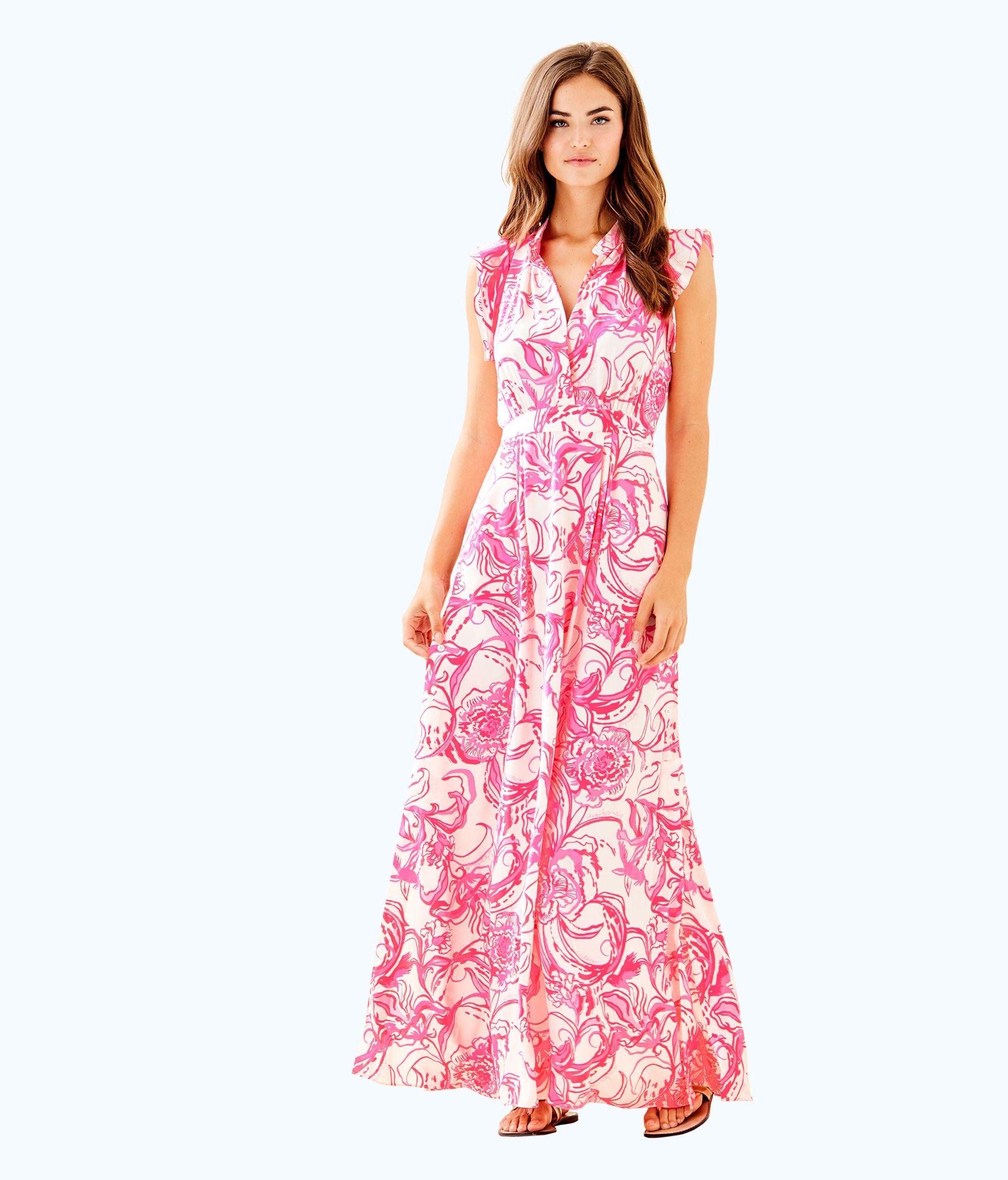 05e8ebbfb51 Lilly Pulitzer Goop X Palm Beach Silk Maxi Dress - 14