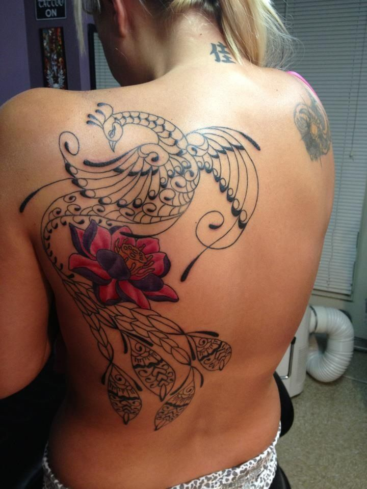 Love My Peacock And Lotus Flower Peacockery Tattoos Back Tattoo