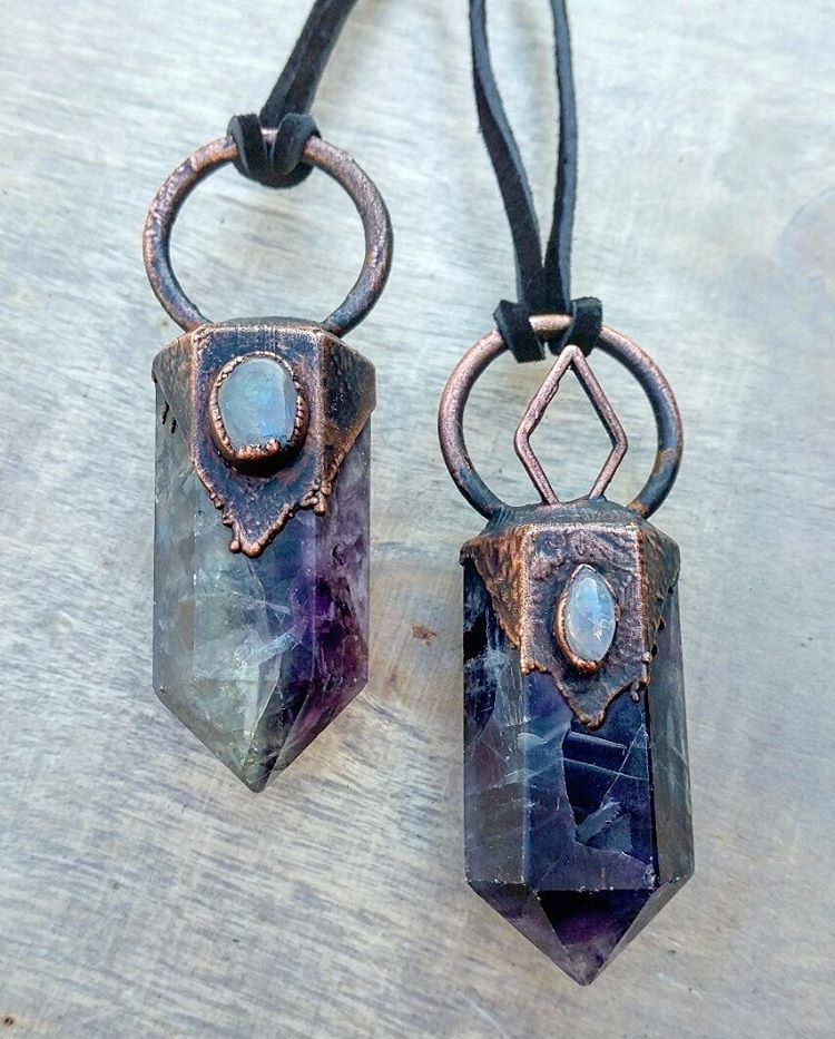 """Two fluorite points that are available in my shop. Today is the first day of March, I can't tell you how excited I am for spring """
