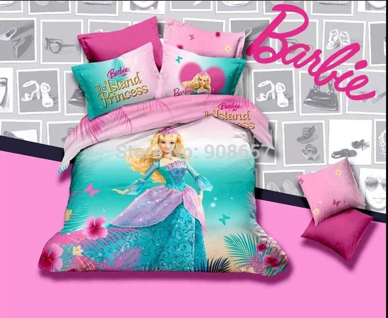 Pas Cher Rose Turquoise Princesse Impression Couette Housse De